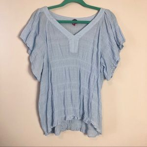 Vince Camuto Blue Ruched Top